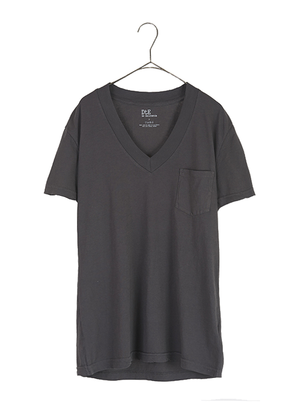 Wide Rib V Neck Pocket T